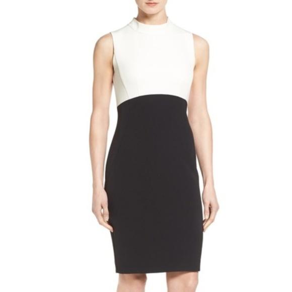 Halogen Dresses & Skirts - Halogen black and white colorblock sheath dress